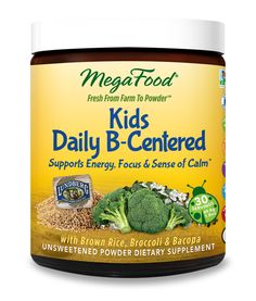 Kids Daily B-Centered Nutrient Powder is a Balanced complex of all FoodState B vitamins to support health of nervous system plus zinc, choline & inositol* • Bacopa, an Ayurvedic herb, traditionally used for children and adults alike to help enhance cognitive function.