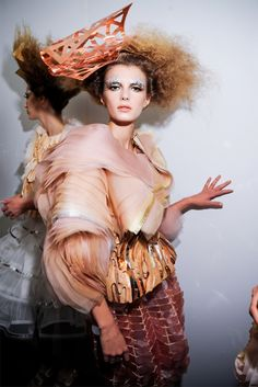 Backstage: Christian Dior, Haute Couture Fall/Winter 2011. We love this Rose Gold Headpiece!