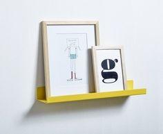 Metalowa półka, żółta, wym. 40x8 cm - FLEXA