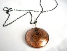 Copper Brown Glass Pendant Necklace (have a statement piece like this on black ribbon)