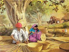 Basket Weavers (Reprint on Paper - Unframed) Village Scene Drawing, Art Village, Indian Village, Art Sketches, Art Drawings, Rajasthani Painting, Composition Painting, Indian Art Paintings, Indian Artwork