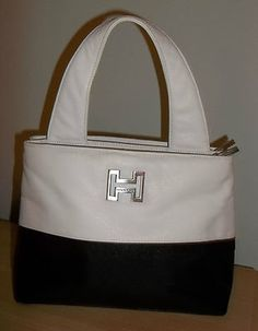 Halston Handbag Purse Designer Satchel Tote Black on White Nice