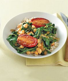 Chickpeas With Chard and Pan-Roasted Tomatoes from realsimple.com #myplate #vegetables