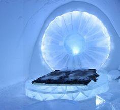 Bedroom in the Ice Hotel Sweden