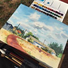 WEBSTA @ melibertine - Silence. Village. Plain air.  #aquarelle #watercolour #watercolor #WinsorAndNewton #canson #art #illustration #painting #creative #journey #travel #trip #inspiring_watercolors #waterblog #landscape #village