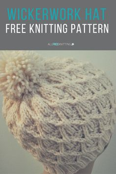 If you've always wanted to learn how to knit a hat, set your sights on the Wickerwork Hat. Complete with an adorable yarn pom pom, this easy knit hat pattern is perfect for young and old alike.