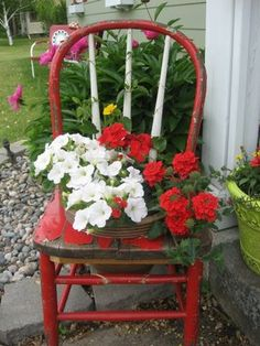 Old chair flower pot