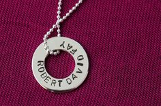 Sterling Silver Hand-stamped circle donut pendant