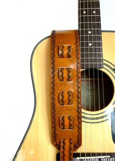 Personalized Guitar Strap Tan Leather by TheLeatherSmithy on Etsy