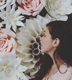 Paper flower bridal shower backdrop