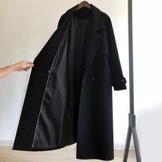 2020 Autumn Winter Black woolen Coat Women's Clothing fashion Women Jacket loose belt long overcoat female casual wool Coat Long Overcoat, Long Wool Coat, Black Wool Coat, Coats For Women, Jackets For Women, Clothes For Women, Mode Mantel, Bold Fashion, Fashion Women