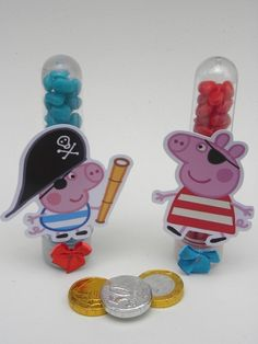20 Tubetes de Balas George Pig Pirata-Cortes para Montar  www.petilola.com.br