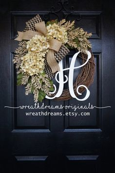 BEST SELLING Year Round Cream Hydrangea Wreath for Front Door - Grapevine Wreath with Burlap and Initial - Monogram Everyday Wreath Hydrangea Not Blooming, Hydrangea Wreath, Chevron Burlap, Burlap Bows, Burlap Ribbon Crafts, Chevron Bow, Diy Wreath, Grapevine Wreath, Wreath Burlap