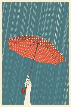 Vintage Travel Poster: Rain in Portland, Oregon (Lantern Press) Illustrations, Illustration Art, Collage Kunst, Japan Design, Design Design, Umbrella Art, Art Vintage, Parasols, Vintage Travel Posters