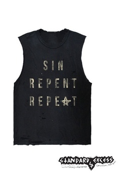 Sin Repent Repeat -  Muscle Tee- Occult - Distressed Tshirt - Grunge Style. $34.00, via Etsy.