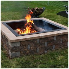 Check out 'Sunnydaze Square Heavy-Duty Fire Pit Rim-Make Your Own In-Ground Fire Pit, Multiple Sizes Available'