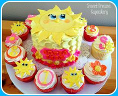 Sunshine themed cake & cupcakes. via Sweet Dreams Cupcakery www.facebook.com/heidisdc