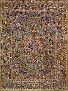 "LOVE - Esfahan Persian Rug 9' 6"" x 12' 10"", Authentic Esfahan Handmade Rug 3298"