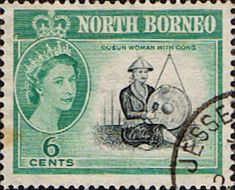 North Borneo 1961 SG 394 Dunsun Woman with Gong Fine Used  SG 394 Scott 283