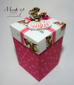 Tall gift box tutorial using the Love Santa Papermania papers and matching embellishments.