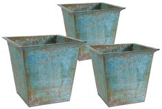 One Kings Lane - No Yard Necessary - Rimmed Rustic Planters, Asst. of 3