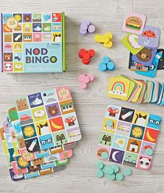 Our Nod Bingo game is filled to the brim with colors, animals and pretty much everything we love. This kid-friendly game has enough pieces for 6 buds to play. Designed exclusively for us by Michelle Romo. Bingo For Kids, Games For Kids, All Toys, Kids Toys, Diy And Crafts, Crafts For Kids, Board Game Design, Baby Store, Baby Play