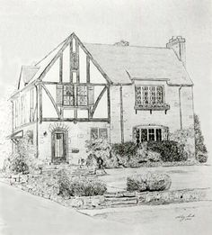 Architecture Houses Drawings custom house portrait - drawing of house in ink, black and white