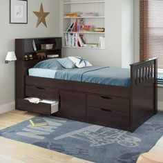 solid oak captains bed twin | beds and bed frames | pinterest