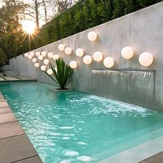 Landscape design a pool location is a various obstacle for everybody, just as the style of each residence and yard is unique.Mediterranean landscape design and pool integrate functions that provide a rustic or Old World look Small Backyard Pools, Backyard Pool Designs, Small Pools, Swimming Pool Designs, Pool Landscaping, Outdoor Pool, Outdoor Retreat, Backyard Ideas, Small Swimming Pools