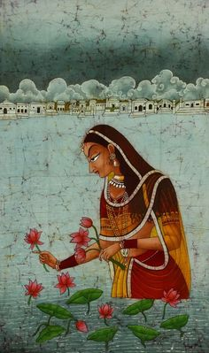 Undated and No source- Lotus Reaper or Radha. Almost identical to a modern paint. Pichwai Paintings, Mughal Paintings, Indian Art Paintings, Abstract Paintings, Landscape Paintings, Rajasthani Painting, Rajasthani Art, India Art, India India