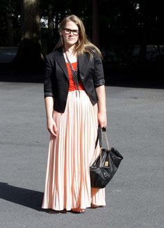 structured jacket, flowy skirt, bright tee, statement necklace