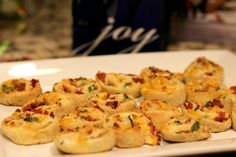 Cheesy Bacon Pinwheels Source: Buns in My Oven  Makes: About 24 Pinwheels  Ingredients: 1 tube of crescent roll dough (Reduced fat works ju...