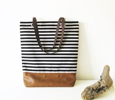 Striped Tote bag, Shoppers bag, Black and white, Casual Tote bag, Everyday Tote, Nautical by byMART on Etsy
