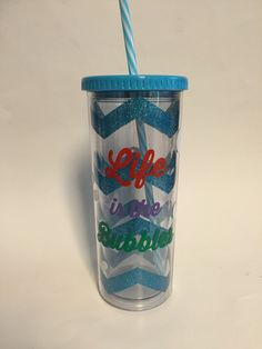 Life is the Bubbles chevron glitter tumbler by GirlMeetsGinger