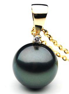 TP028 (AAA 12mm Tahitian Black pearl Pendant and Diamonds in 18k Gold) $2,499