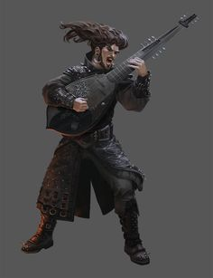m Bard Studded Leather Armor Hat Lute male undercity underdark lg Dungeons And Dragons Art, Dungeons And Dragons Characters, Dungeons And Dragons Homebrew, Dnd Characters, Fantasy Characters, Fantasy Heroes, Fantasy Male, Fantasy Warrior, Fantasy Rpg