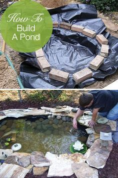 Garden Ideas How to Build a Pond; Easily, Cheaply and Beautifully - Learn how to build a pond! Try these DIY pond tutorials for your backyard. These are simple outdoor projects even beginners can do!
