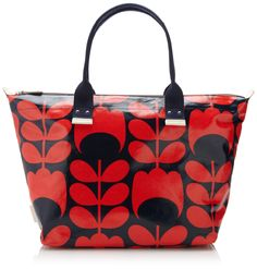 Orla Kiely Laminated Easy Zip Tote Shoulder Bag,Red/Blue,One Size