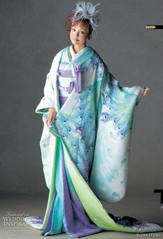 Light blue Japanese silk kimono with green accents painted with peacock motif. Lovely update to a mostly-traditional wedding ensemble. I can see Kohane from Xxxholic in this.
