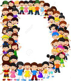 Los niños pequeños forman el alfabeto D