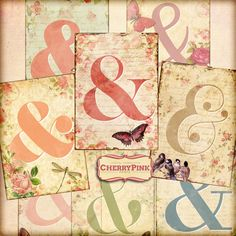AMPERSAND SIGN digital collage sheet vintage by CherryPinkPrints available @Etsy