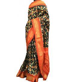 Black Handloom Ikkat Pochampally Silk Saree