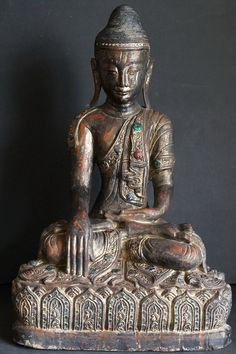 """When life is sweet, say thank you and celebrate. And when life is bitter, say thank you and grow."" ~ Shauna Niequist Burmese antique teak wood sitting Buddha Statue 19th Century <3 lis"