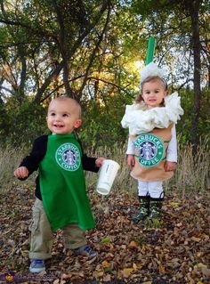 Starbucks Baby Costume - Halloween Costume Contest via Starbucks Halloween Costume, Clueless Halloween Costume, Matching Halloween Costumes, Twin Halloween, Halloween Costume Contest, Cute Halloween, Costume Ideas, Halloween Ideas, Maleficent Costume