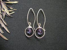 Purple Swarovski earrings. Dangle ring earrings. by MADAMBLUEONE, $23.00