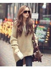 Oversize V-Neck Long Sleeve Tassel Knitting Cardigan - stylishplus.com