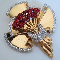 Vtg 1940 Art Deco Coro Craft Sterling Silver Vermeil Rhinestone Glass Brooch Pin
