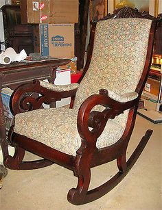 Victorian Carved Walnut Lincoln Rocker Rocking Chair CA 1860 | 24in wide