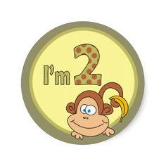Cute Monkey With Banana Party Thank You Stickers Name Stickers, Thank You Stickers, Custom Stickers, Banana Party, Banana Sticker, Girl Birthday, Birthday Parties, Make Your Own, Make It Yourself