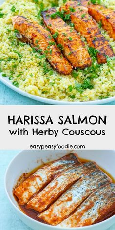 Simple grilled salmon coated in a delicious harissa marinade and served on a bed of herby couscous this Harissa Salmon with Herby Couscous recipe tastes incredible but is actually very easy to make and takes just 15 minutes. Salmon Recipes, Fish Recipes, Seafood Recipes, Healthy Recipes, Tilapia Recipes, Orange Recipes, Lunch Recipes, Sweet Recipes, Soup Recipes
